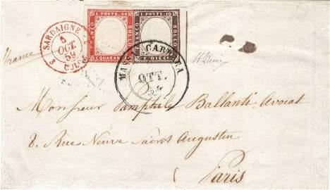 Lettera da Massa Carrara per Parigi del 2 ottobre 1859,