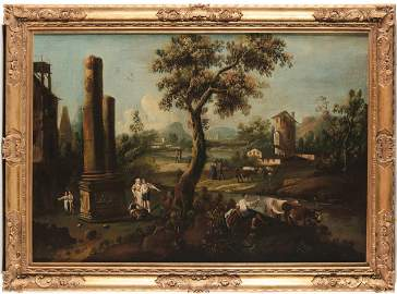 Scuola veneta del XVIII secolo, Paesaggi con figure e