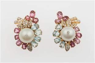 Orecchini con perle coltivate, diamanti, tormaline ed