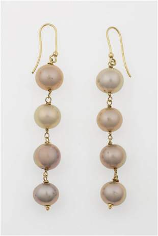 Pair of gold and pearl pendent earrings