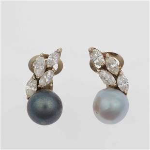 Orecchini con perle coltivate e diamanti taglio