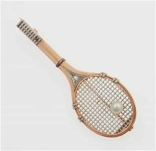 """Spilla """"racchetta da tennis"""" con piccola perla"""