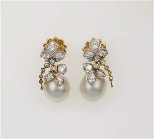 Orecchini con perle coltivate e diamanti,
