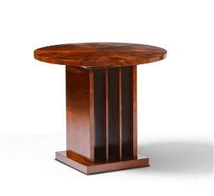 Tavolo basso rotondo con struttura, base e piano in