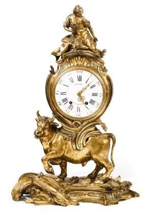 Pendola da tavolo in bronzo dorato. Francia XIX secolo,