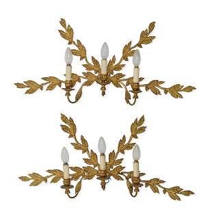 Coppia di applique Bronzo dorato a cesellato, secolo
