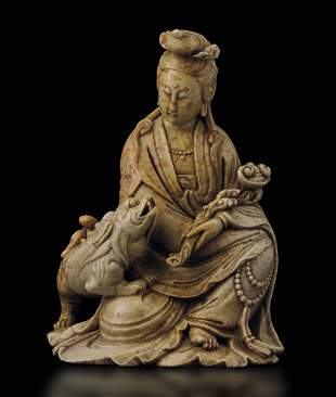 A soapstone group, China, Qing Dynasty