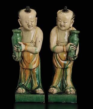 Two terracotta O'Boy, China, Ming Dynasty
