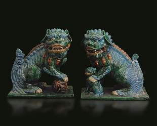 Two terracotta Pho dogs, China, Ming Dynasty