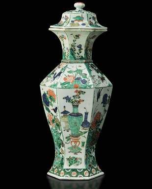 A porcelain potiche, China, Qing Dynasty