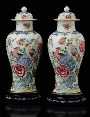 Two porcelain potiches, China, Qing Dynasty