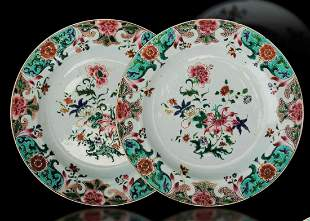 Two porcelain plates, China, Qing Dynasty