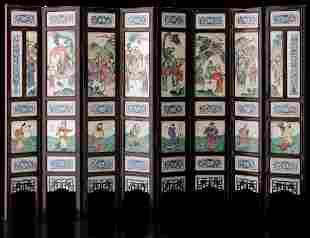 An eight-fold screen, China, Qing Dynasty