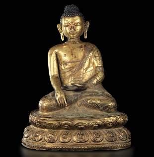 A gilt bronze Buddha Sakyamuni, Tibet, 1600s-1700s