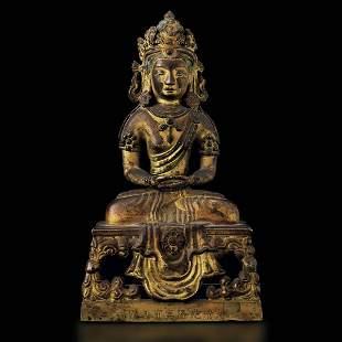A gilt bronze Buddha Amitayus, China, Qing Dynasty