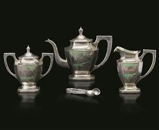 A silver tea set, China, Qing Dynasty