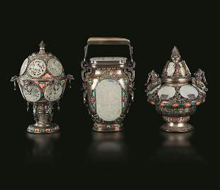 Three silver pots, Tibet, 1800s