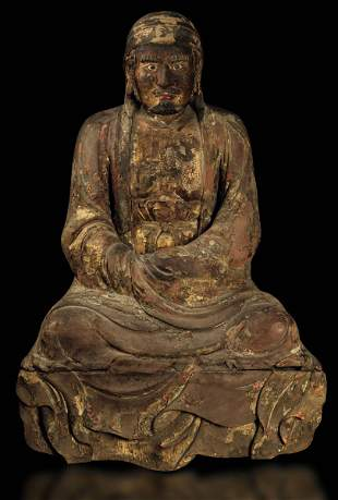 A lacquered wood figure, China, Ming Dynasty