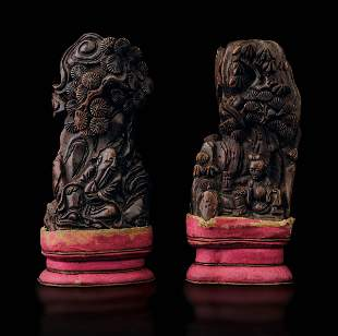 Two carved Chen wood groups, China, Qing Dynasty