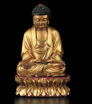 A wood Buddha Amitayus, China, Qing Dynasty