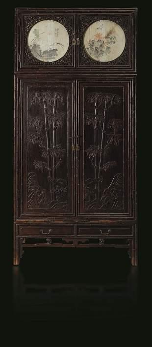 A Homu wood wardrobe, China, Qing Dynasty