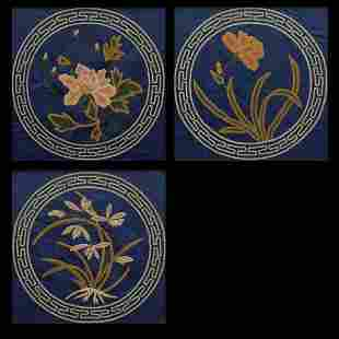 Three embroidered silk canvases, China, Qing Dynasty