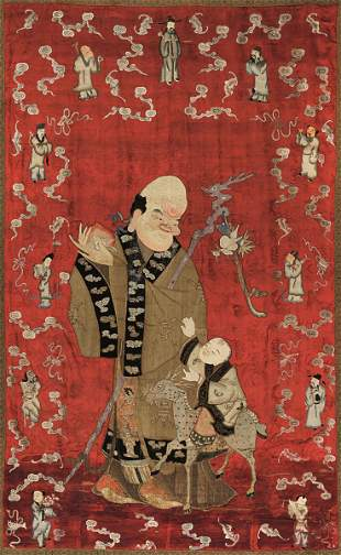 An embroidered silk canvas, China, Qing Dynasty
