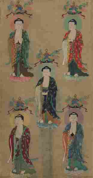 A large painting on silk, China, 1700s