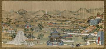 A large painting on silk, China, Qing Dynasty