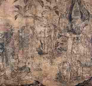 A large painting on paper, China, Ming Dynasty