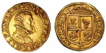 MILANO. Filippo II, 1554-1598., Doppia da quattro scudi