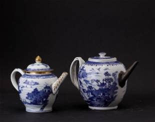 Two porcelain teapots, China, Qing Dynasty, Two