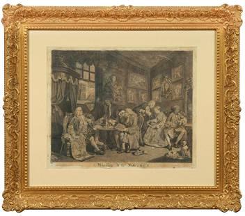 """William Hogarth, """"Marriage a-la-mode"""" gruppo di 6"""