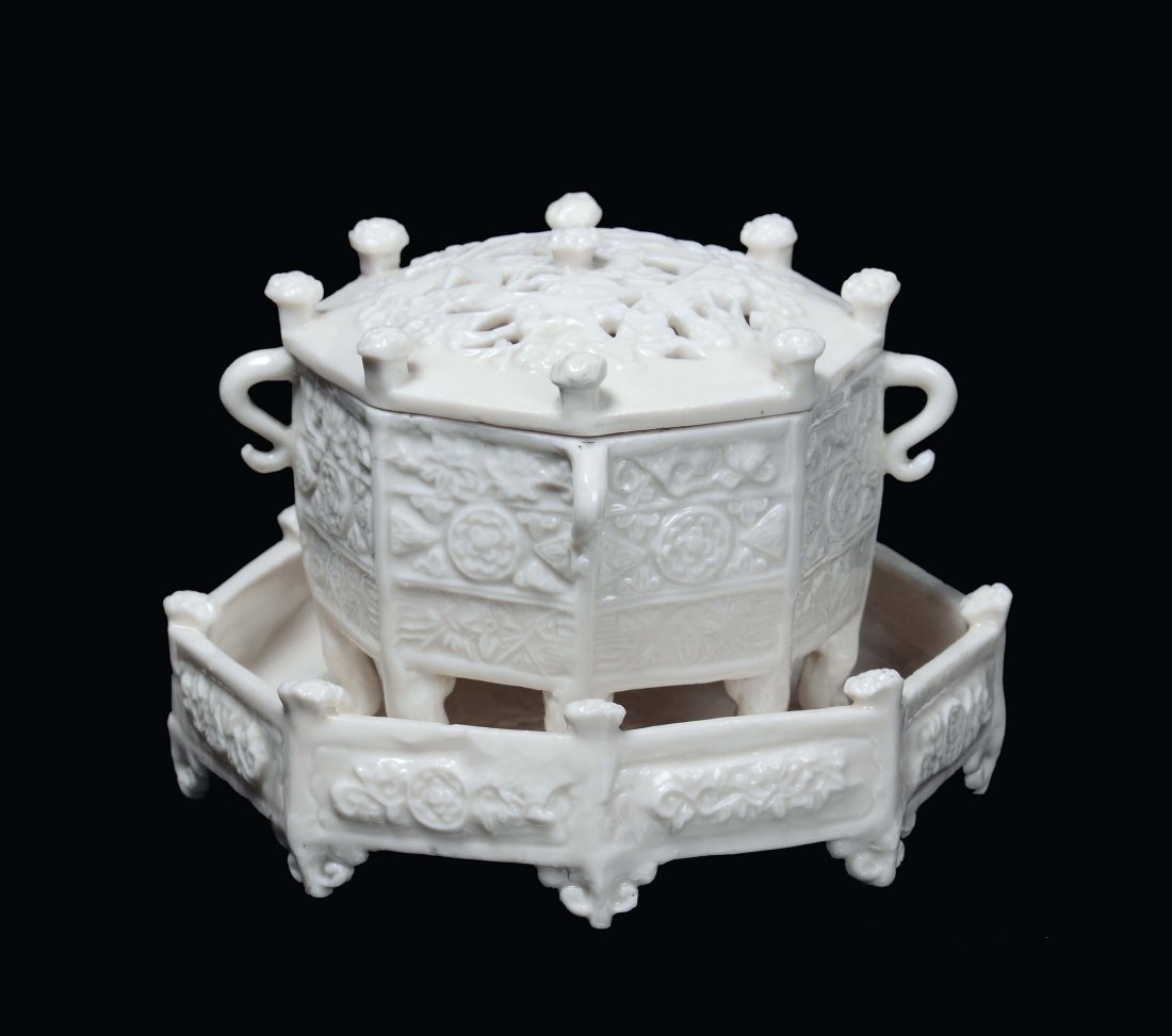 "An octagonal Blanc de Chine porcelain ""Marco Polo"" cens"