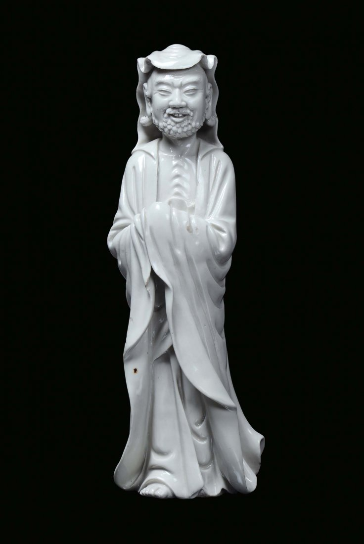 A Blanc de Chine porcelain monk, China, Dehua, Qing Dyn