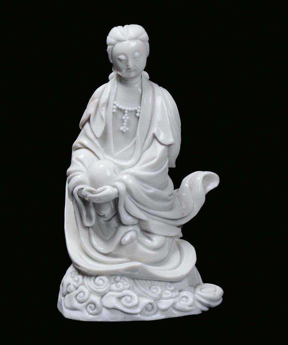 A Blanc de Chine porcelain Guanyin, China, Dehua, end 1