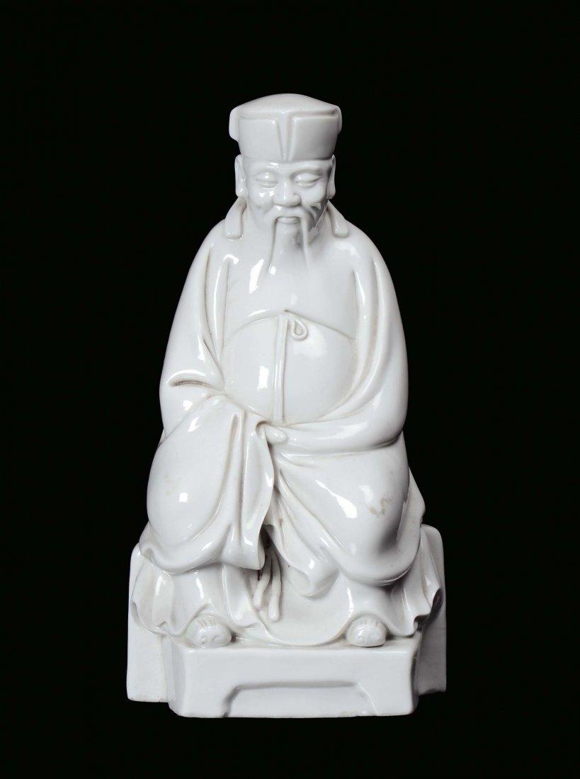 Blanc de Chine porcelain Dignitary, China, Qing Dynasty