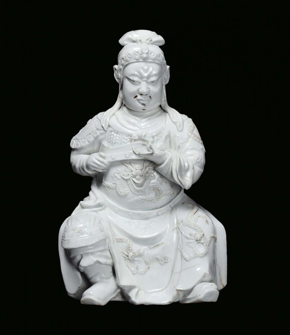 Blanc de Chine porcelain Guandi, China, Ming Dynasty, W