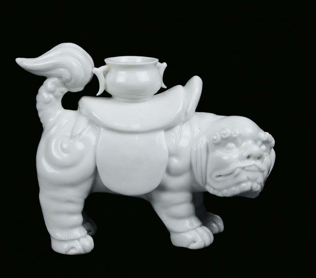 A Blanc de Chine porcelain Pho dog, China, Qing Dynasty