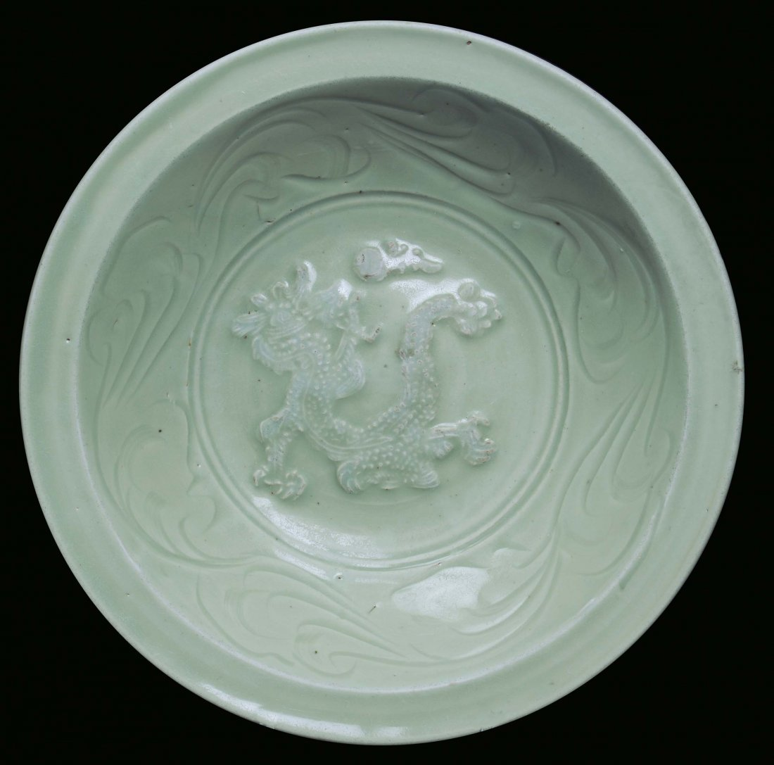 A Celadon porcelain plate with dragon, China, Ming Dyna