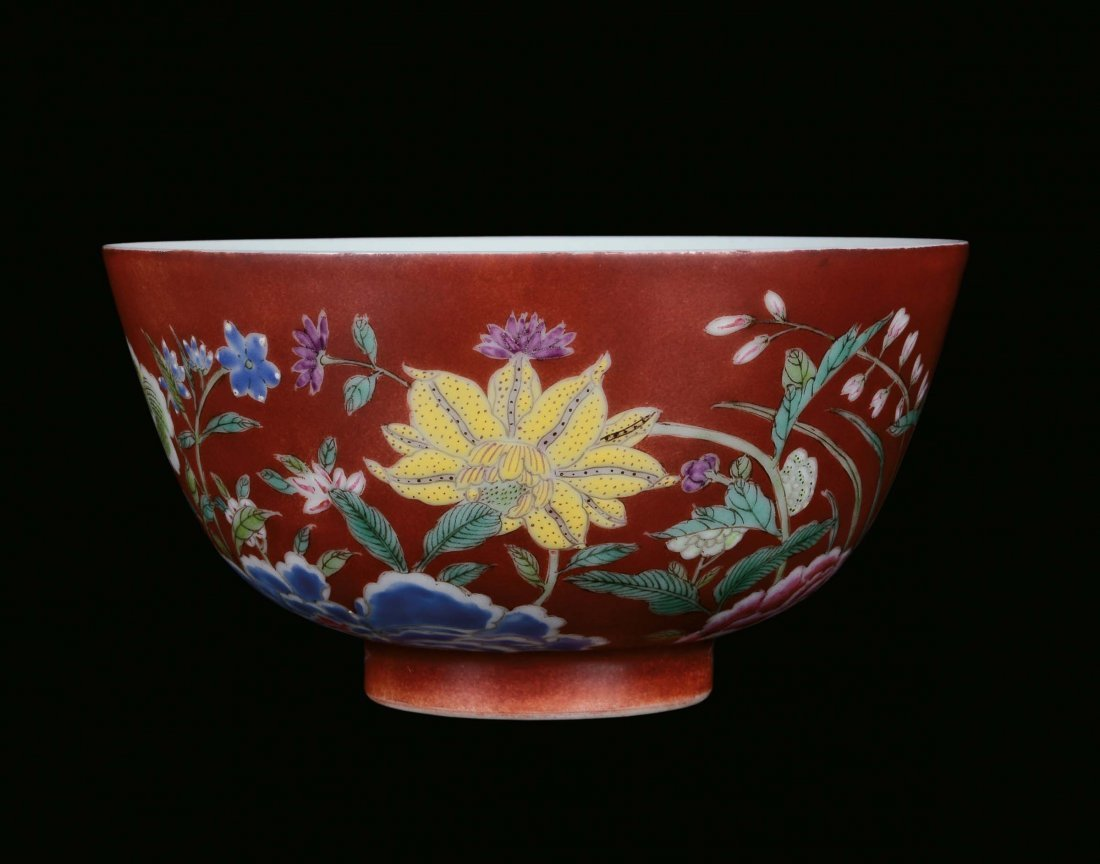 A small porcelain bowl with red background and naturali