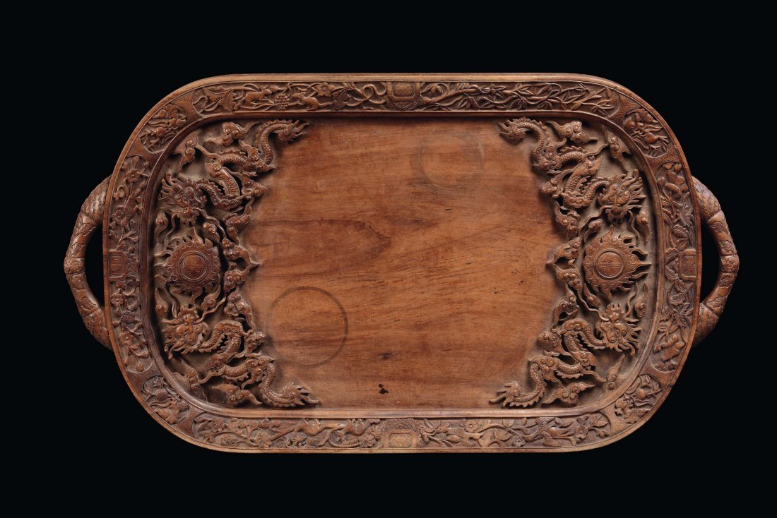 Two handles Huangwali tray richly carved with dragons,