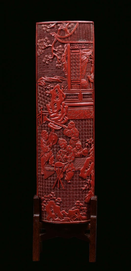 A red lacquer plate decorated with musicians, China, Qi