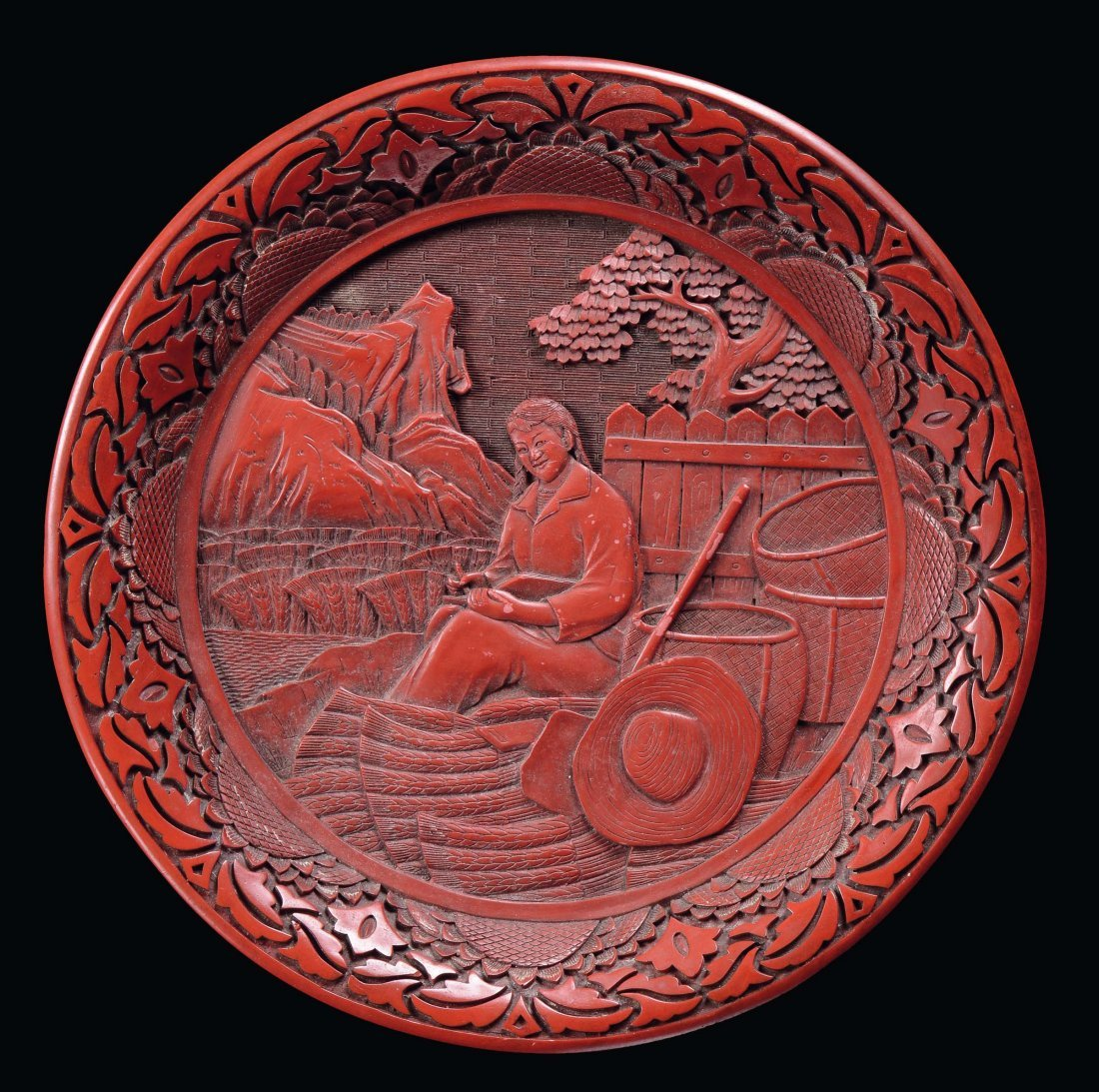 A red lacquer plate with countrywoman, China, Republic,