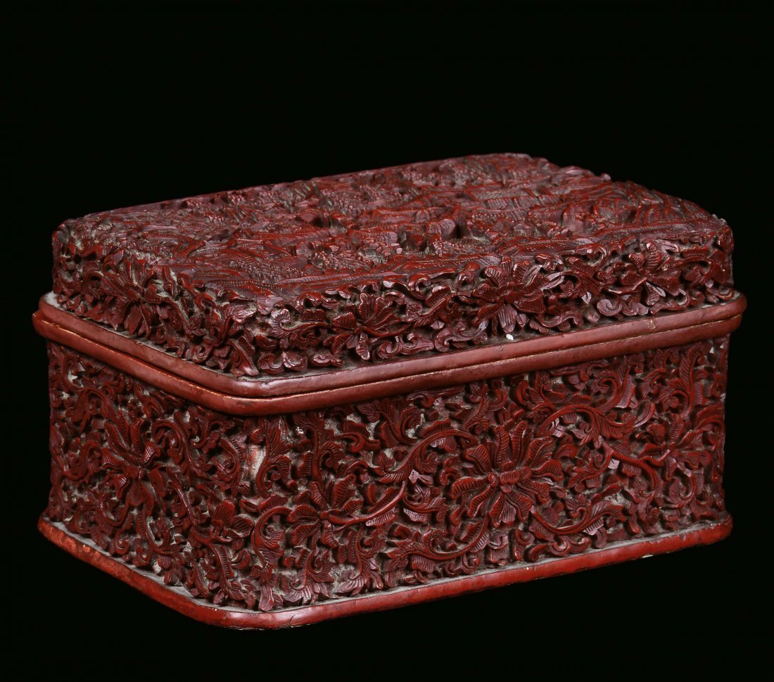 A red lacquer casket decorated with vegetable and flora