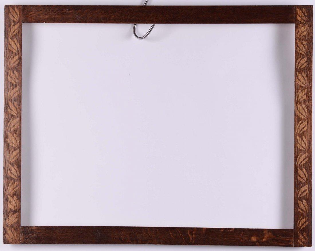 Cornicetta da stampa rustica in faggio intarsiato, XX s
