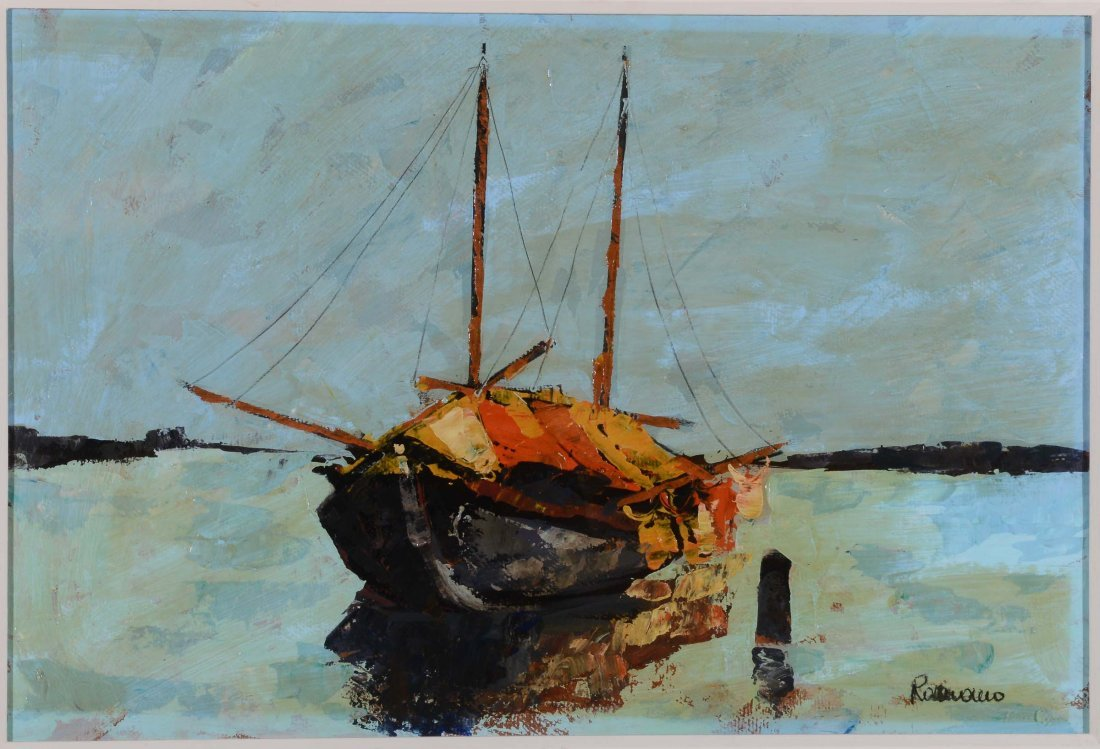 Francesco Romano (1880-1924) Barche alla marina
