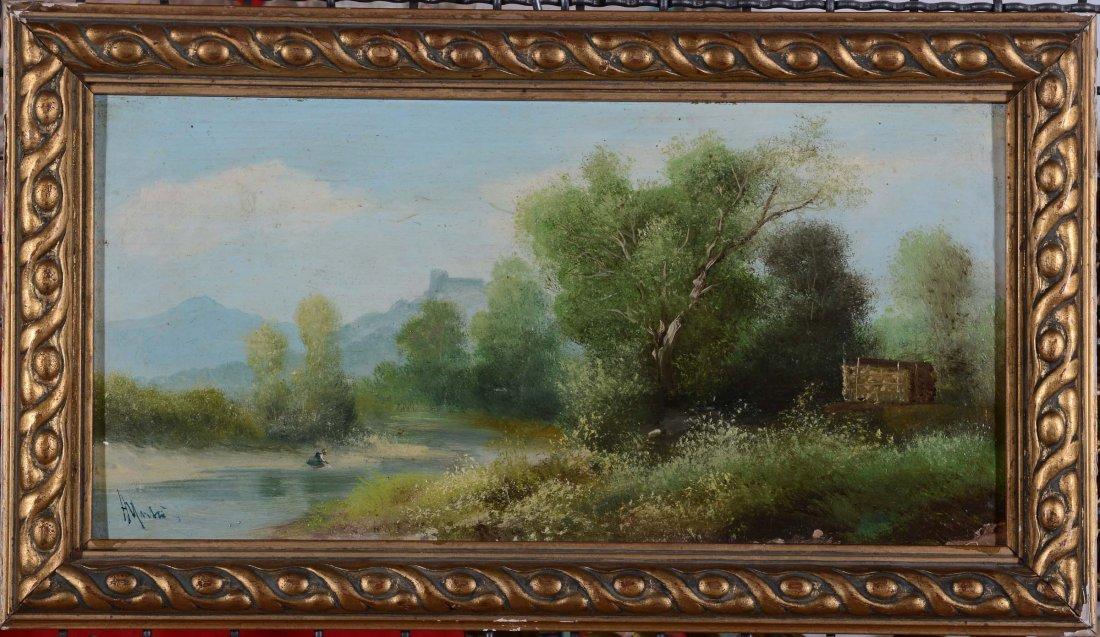 Henry Marko (1855-1921)  Paesaggi con fiume