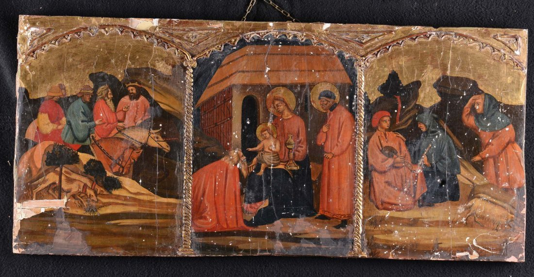 Tavoletta con trittico raffigurante Adorazione dei