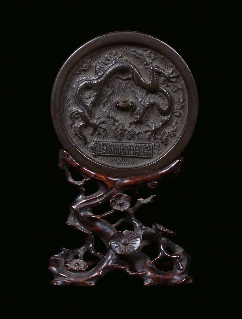 Specchio in bronzo argentato con base in legno